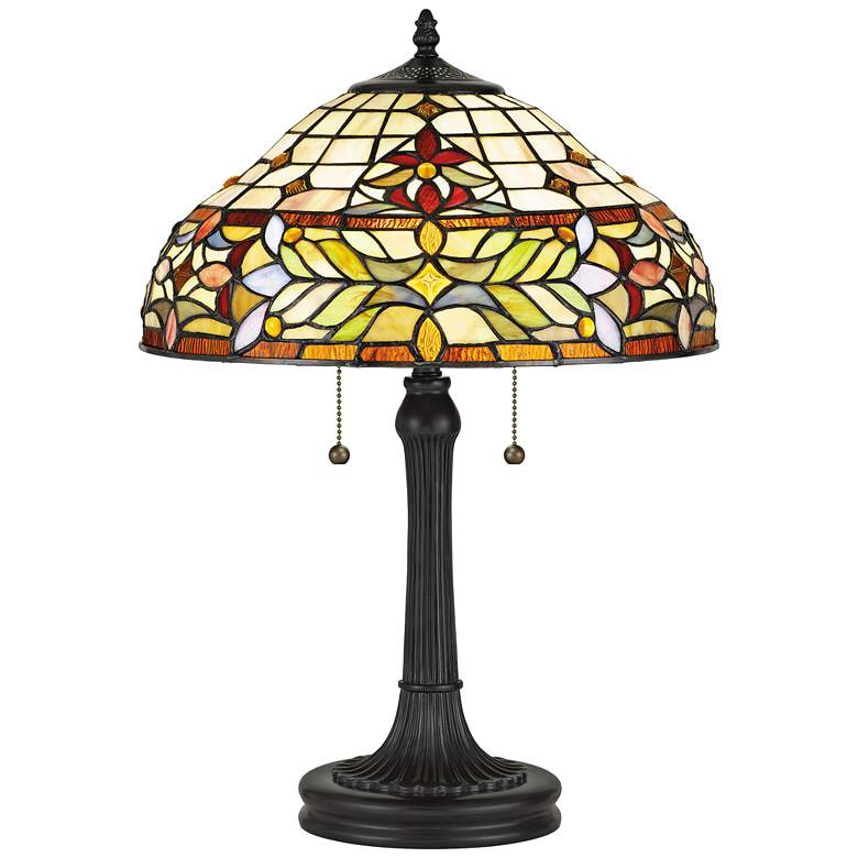 """Quoizel Quinn 22 1/2"""" High Bronze Tiffany-Style Accent Table Lamp"""