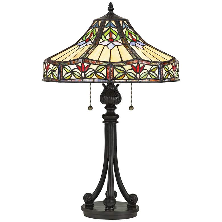 Geller Tiffany-Style Art Glass Table Lamp by Quoizel