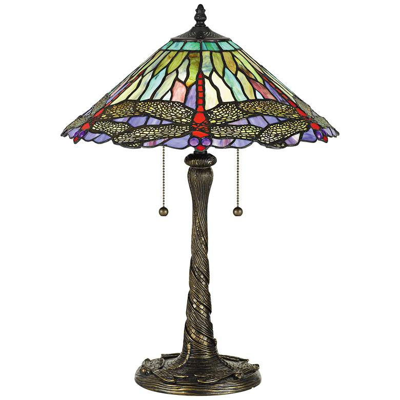 """Quoizel Skimmer 23"""" High Bronze Accent Tiffany-Style Table Lamp"""