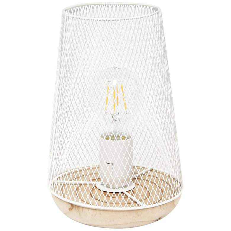 """Simple Designs 9""""H Tapered White Mesh Accent Table Lamp"""