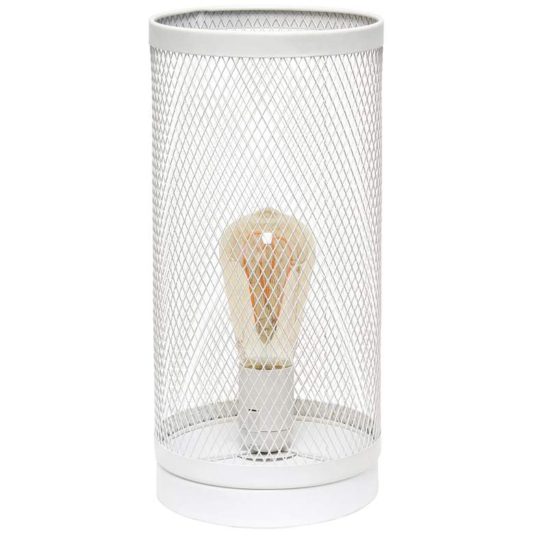 """Simple Designs 12 3/4""""H White Mesh Cylinder Accent Lamp"""