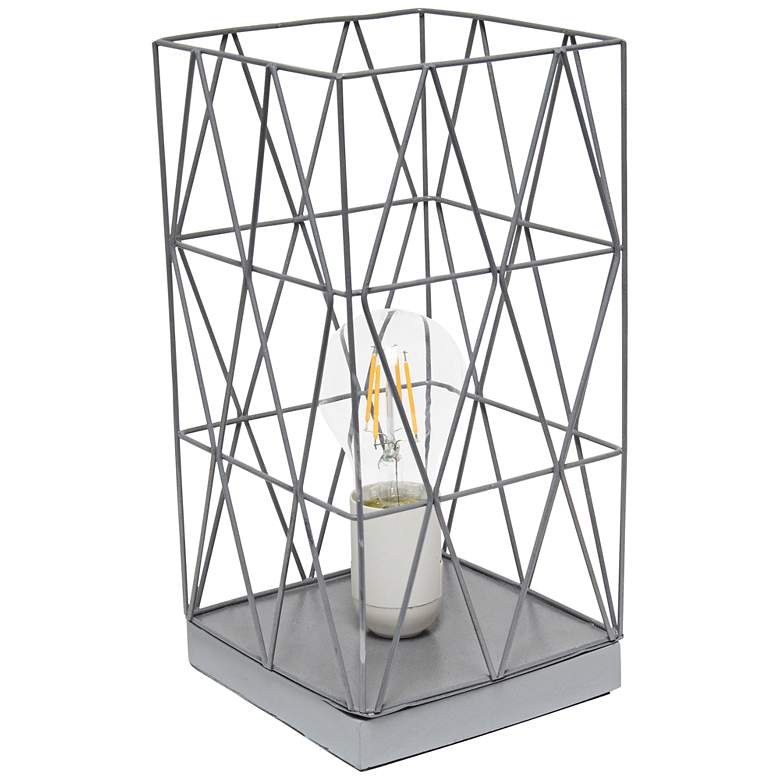 "Simple Designs 10 1/4""H Gray Geometric Metal Accent Lamp"