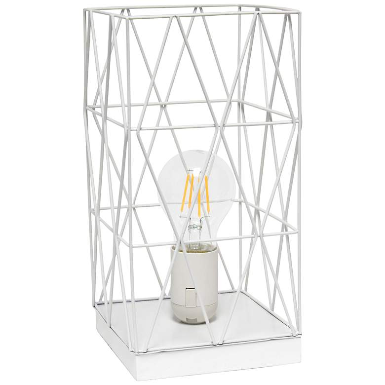 "Simple Designs 10 1/4""H White Geometric Metal Accent Lamp"