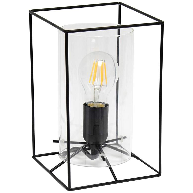 "Lalia Home 9"" High Black and Clear Glass Accent Table Lamp"