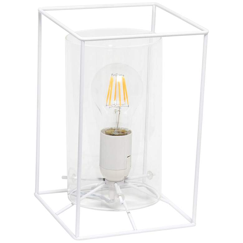 """Lalia Home 9"""" High White and Clear Glass Accent Table Lamp"""
