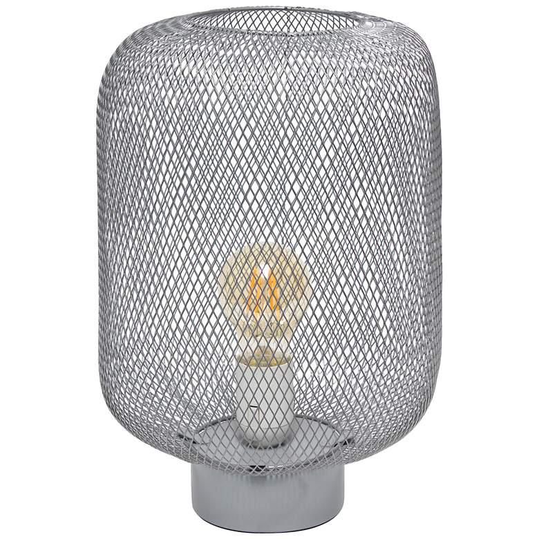 "Simple Designs 12 1/4""H Gray Metal Mesh Accent Table Lamp"
