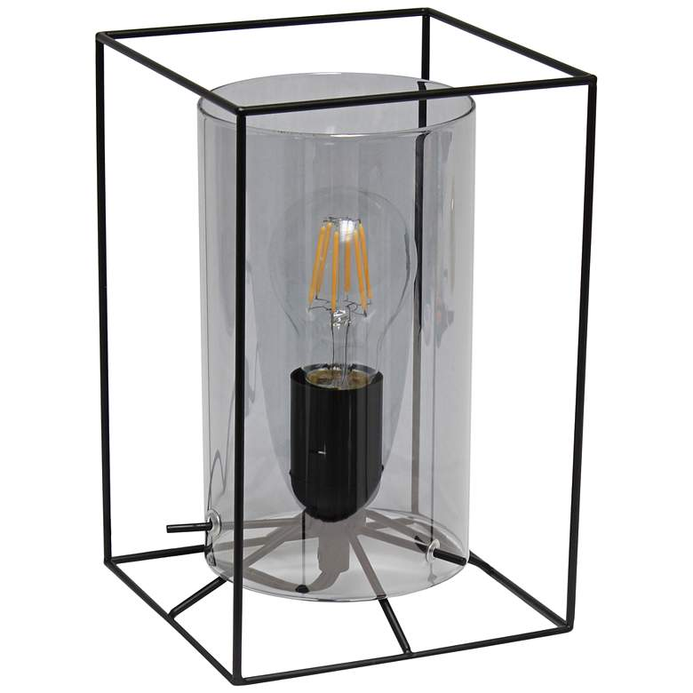 """Lalia Home 9"""" High Black and Smoke Glass Accent Table Lamp"""