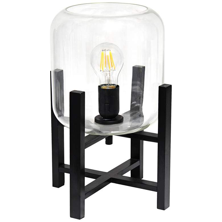 "Simple Designs 13 1/2""H Black and Clear Glass Accent Lamp"
