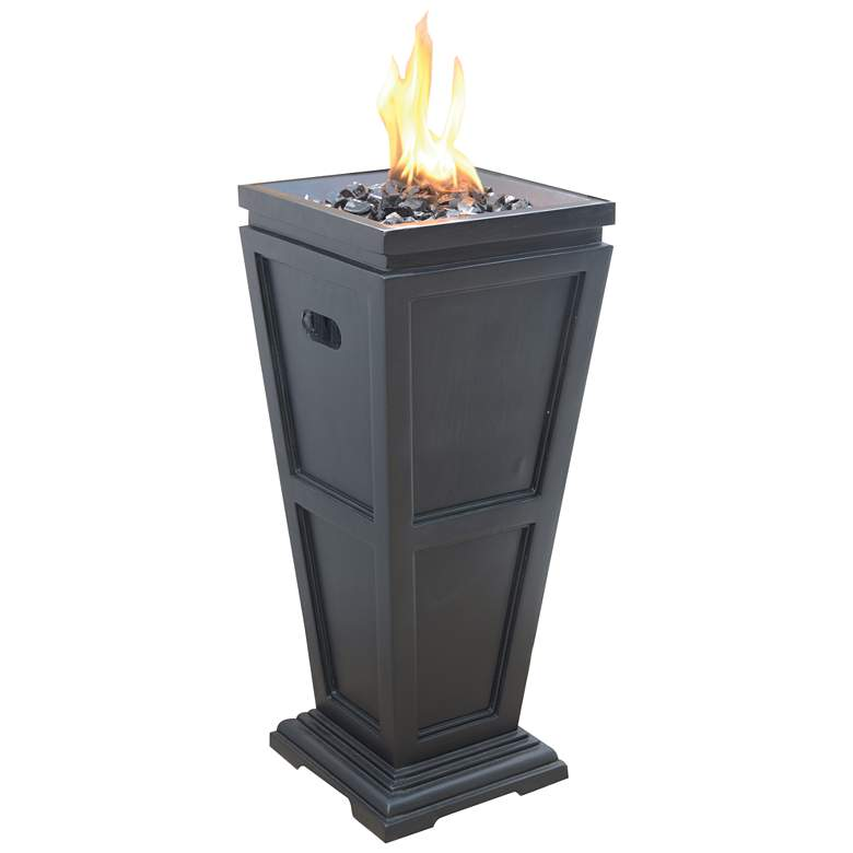 "Slate 27 3/4"" High Propane Gas Column Fire Pit"