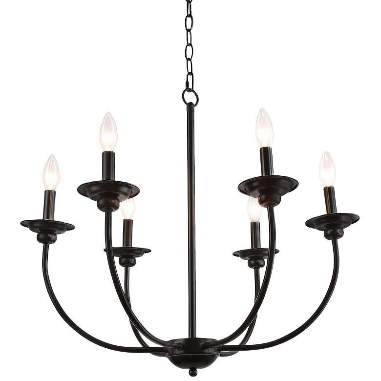 "Arlin 26"" Wide Black 6-Light Candle Chandelier"