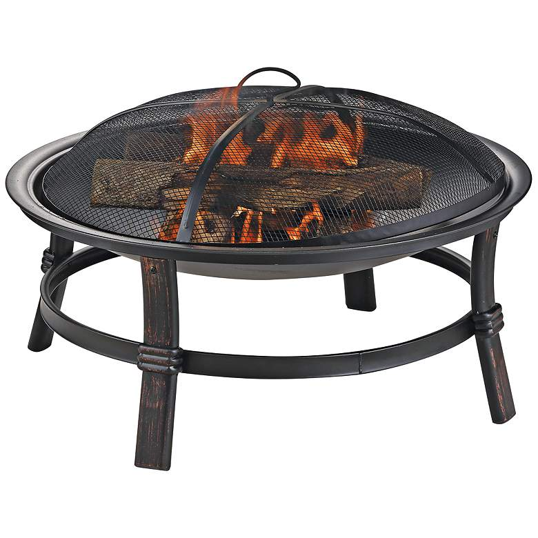 """Brushed Copper 29"""" Wide Wood Burning Outdoor Fire Pit"""