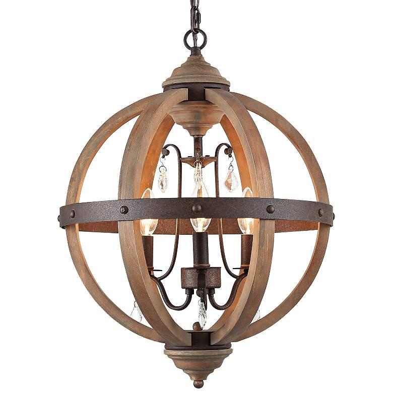 "Navejo 15 1/2"" Wide Bronze 3-Light Orb Chandelier"