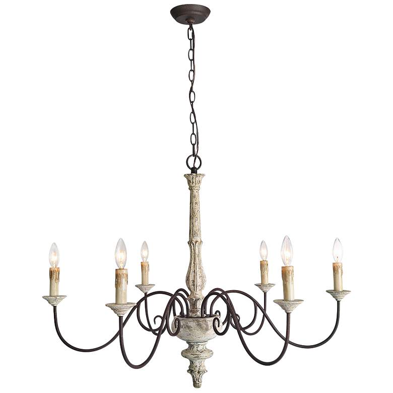 """Izuell 37"""" Wide Off-White 6-Light Candle Chandelier"""