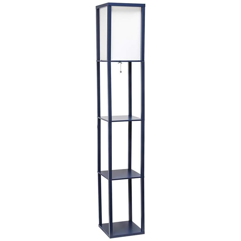 Simple Designs Navy 3-Shelf Etagere Floor Lamp