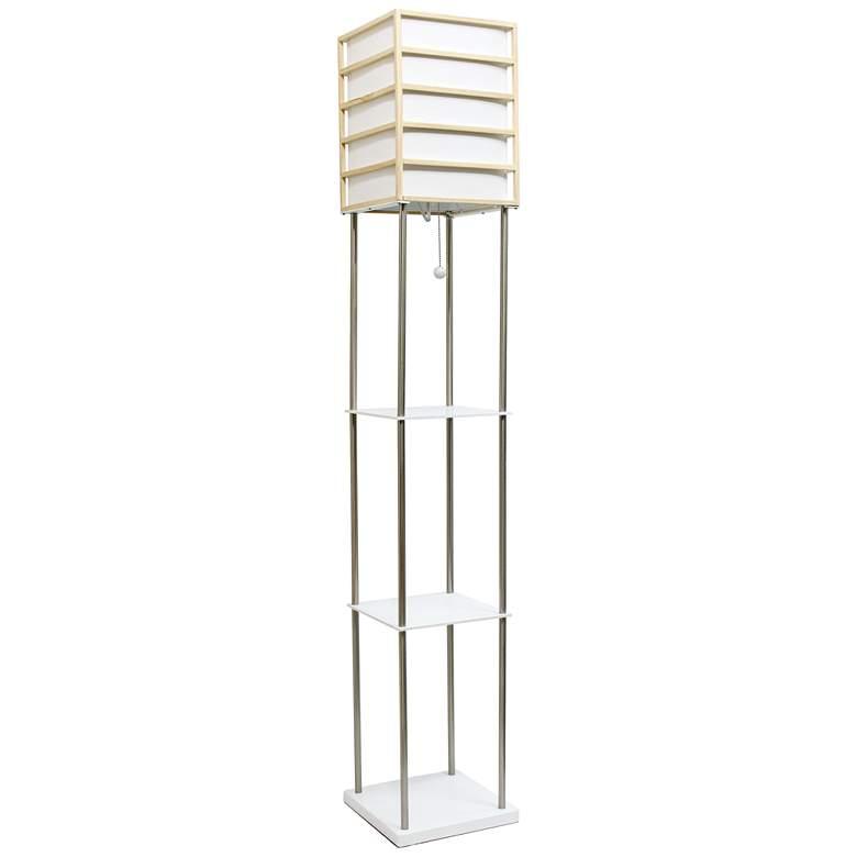 Lalia Home Nickel and White 3-Shelf Etagere Floor Lamp