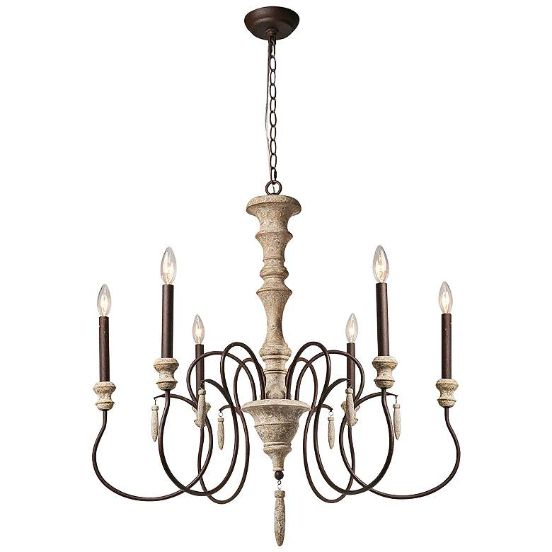 """Izuell 31"""" Wide Off-White 6-Light Candle Chandelier"""