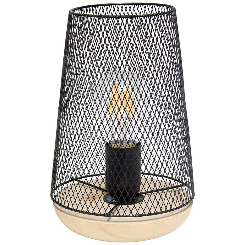 """Simple Designs 9""""H Tapered Black Mesh Accent Table Lamp"""