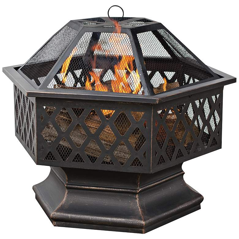 """Lattice 28"""" Wide Wood Burning Outdoor Fire Pit"""
