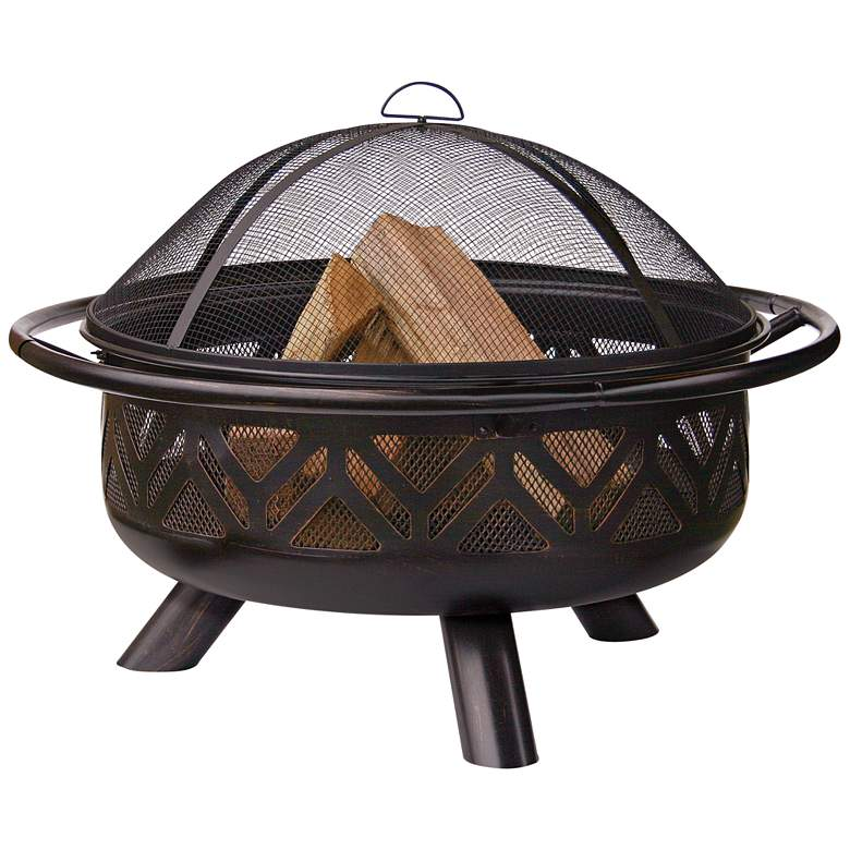 """Geometric 36"""" Wide Wood Burning Outdoor Fire Pit"""