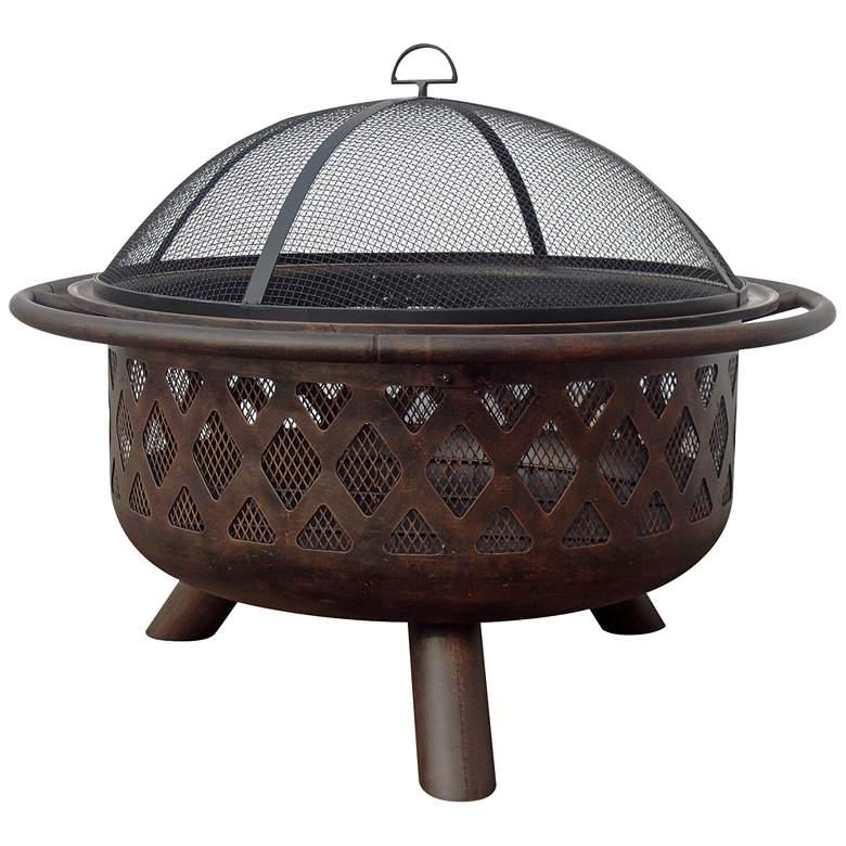 "Lattice Design 35 3/4"" Wide Wood Burning Outdoor Fire Pit"