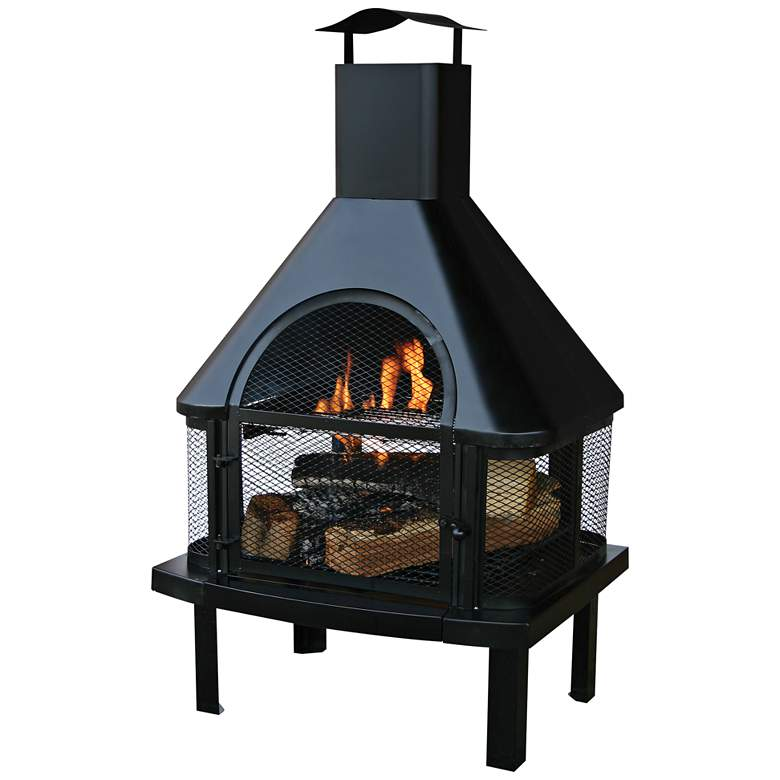 "Black 43 1/2"" High Wood Burning Outdoor Fireplace"