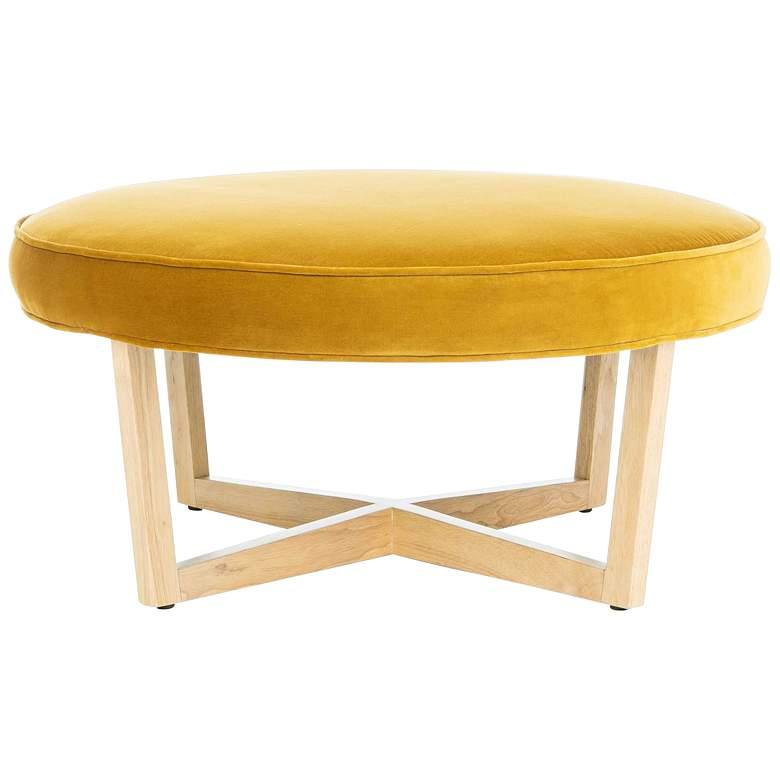 Tabby Gold Velvet Round Ottoman