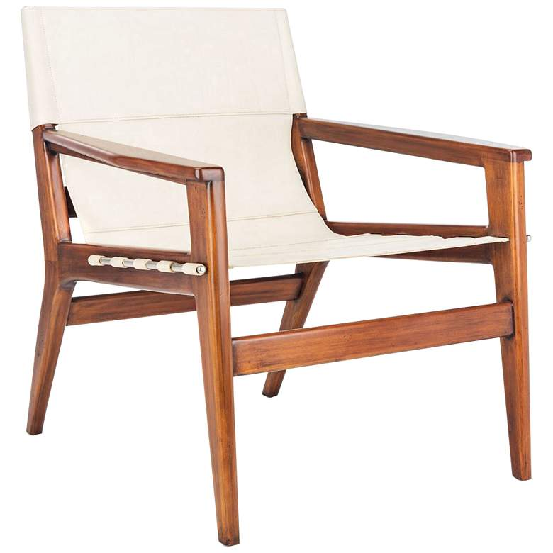 Culkin White and Brown Leather Sling Chair