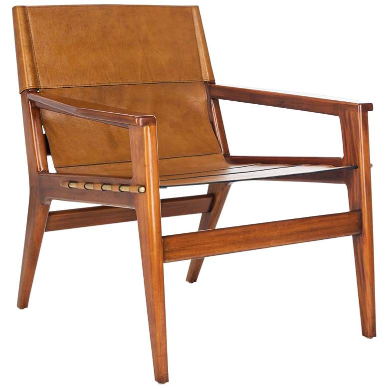 Culkin Brown and Light Brown Leather Sling Chair