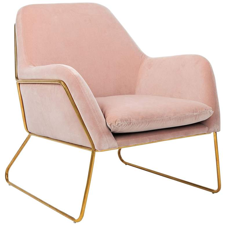 Misty Metal Frame Blush Accent Chair