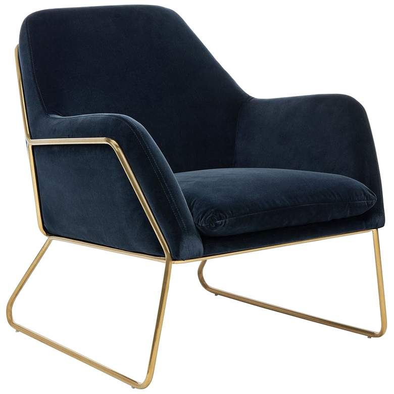 Misty Metal Frame Navy and Gold Accent Chair