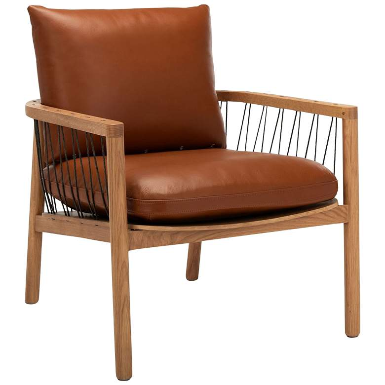 Caramel Mid-Century Brown Leather Chair