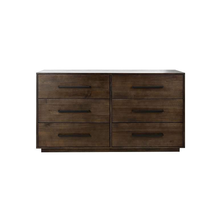 "Mallory 56"" Wide Dark Chocolate 6-Drawer Dresser"
