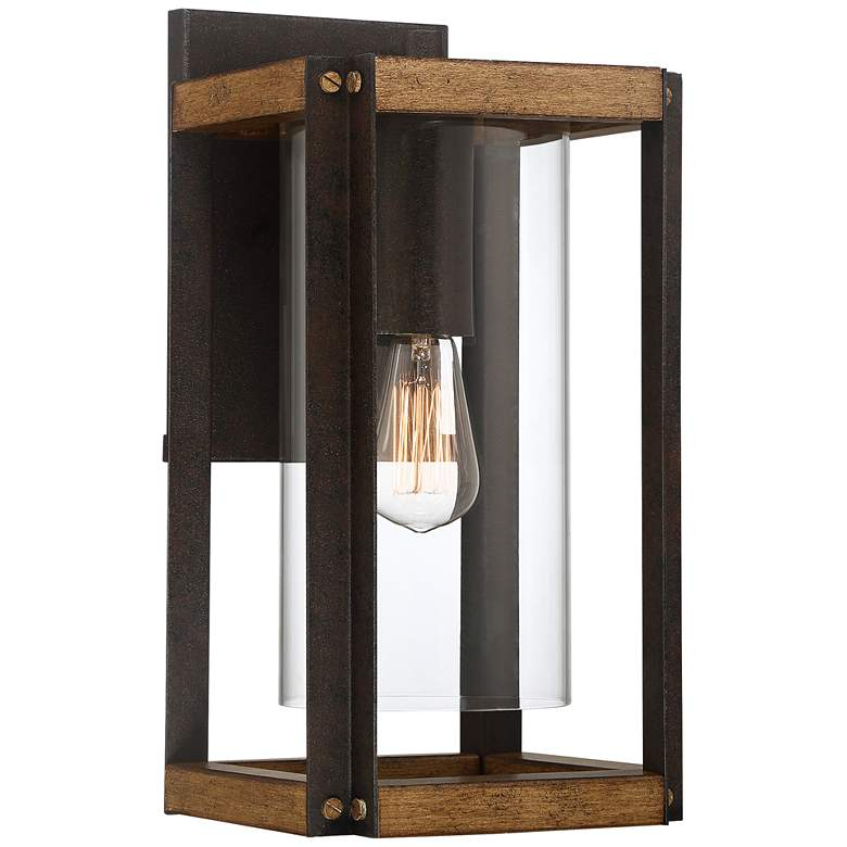 """Marion Square 16 1/2""""H Black and Walnut Outdoor Wall Light"""