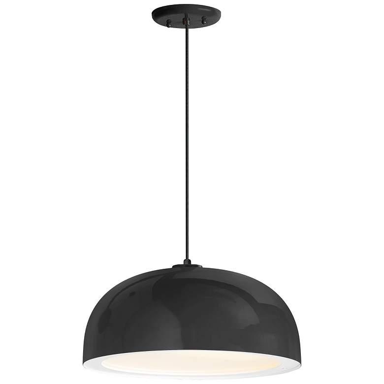 "Troy RLM Dome 16""W Black Pendant Light w/ Gloss White Lens"