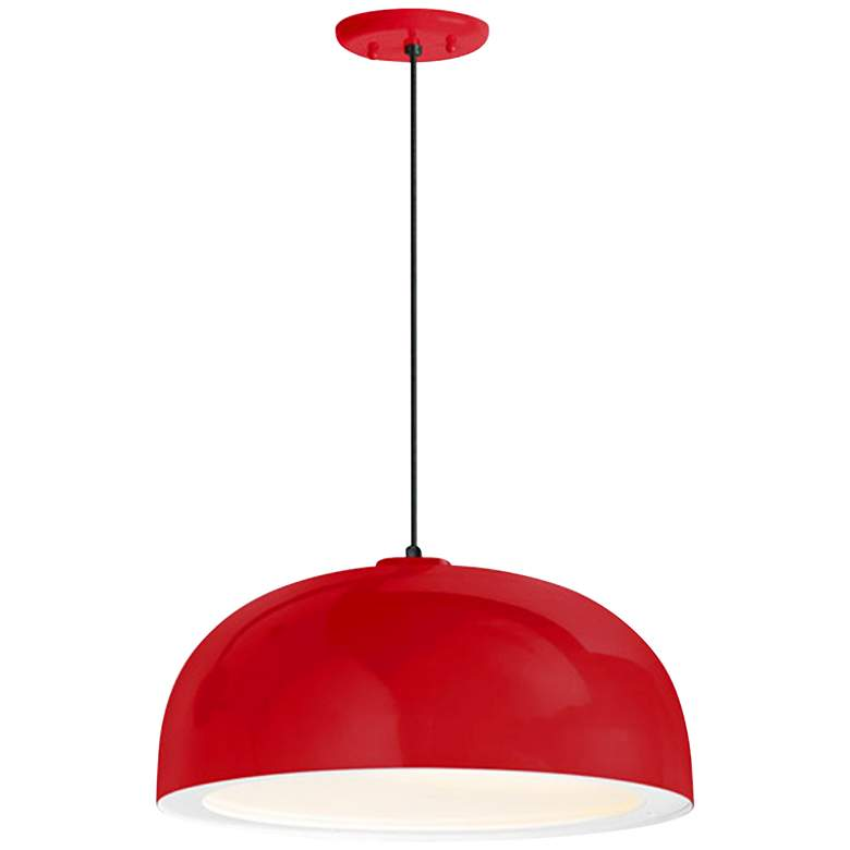 "Troy RLM Dome 16"" Wide Red Pendant Light w/ Gloss White Lens"