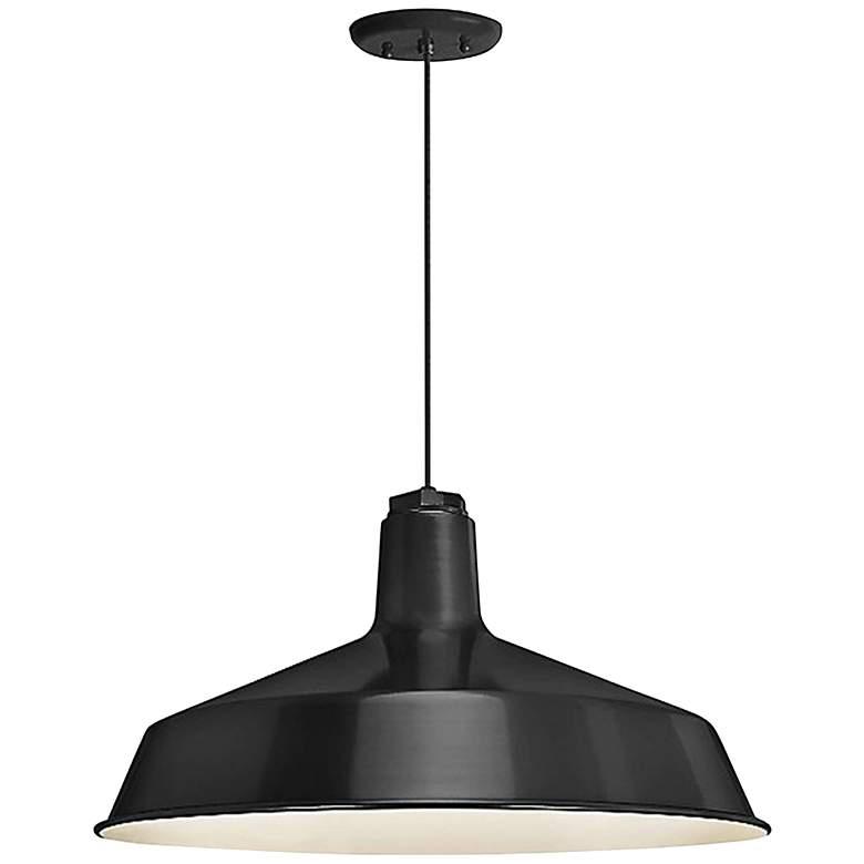 "Troy RLM Standard 16"" Wide Black Aluminum Pendant Light"