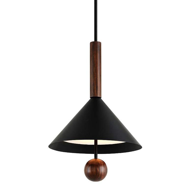 "Ranger 22"" Wide Black and Natural Acacia Wood Pendant Light"