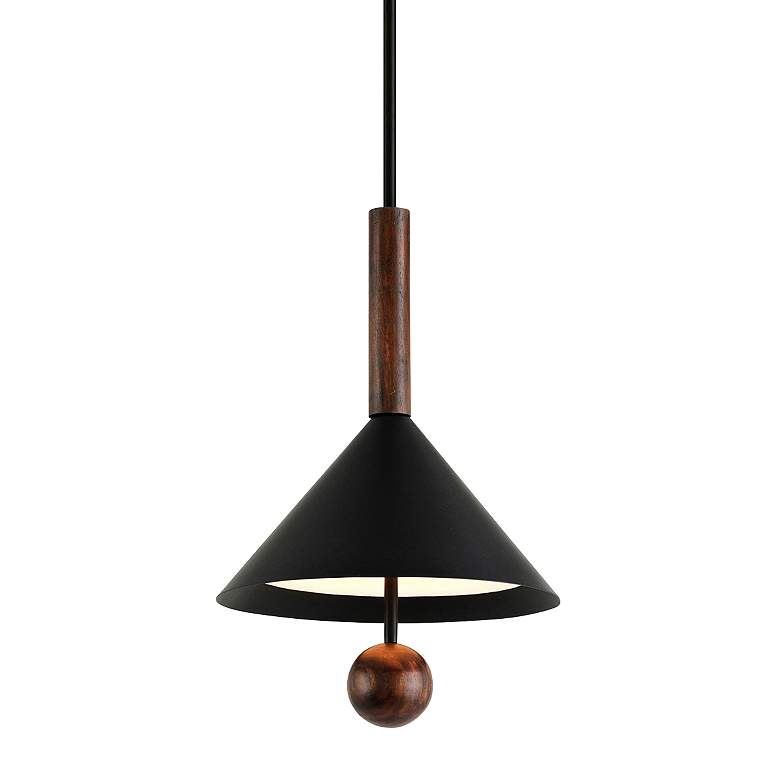"Ranger 16"" Wide Black and Natural Acacia Wood Pendant Light"