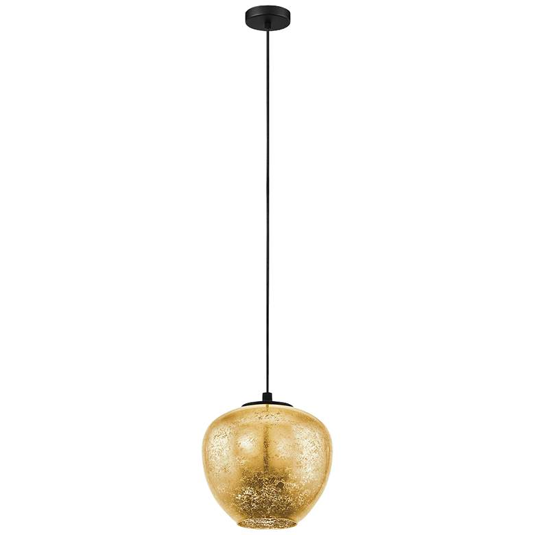 "Eglo Priorat 11 1/4"" Wide Black and Gold Pendant Light"