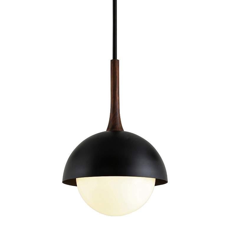 "Cadet 18"" Wide Black and Natural Acacia Wood Pendant Light"