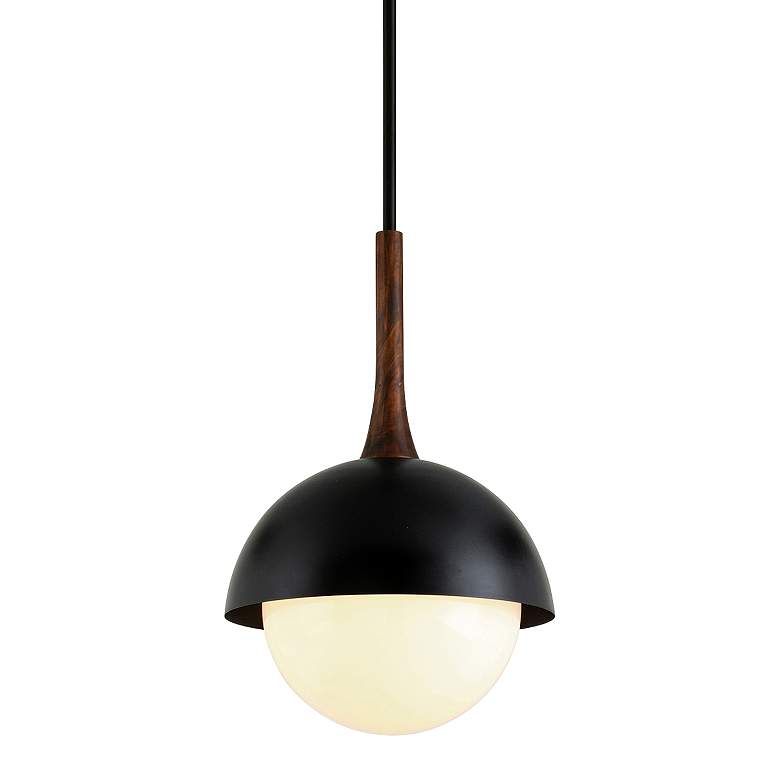 "Cadet 15"" Wide Black and Natural Acacia Wood Pendant Light"