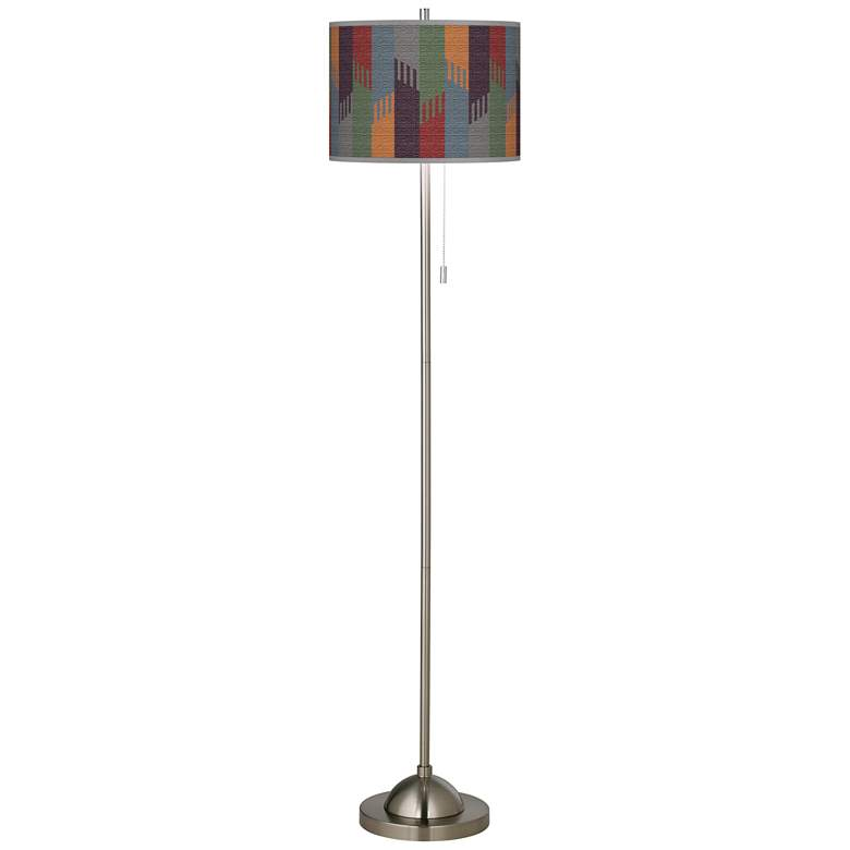 Tassels Brushed Nickel Pull Chain Floor Lamp