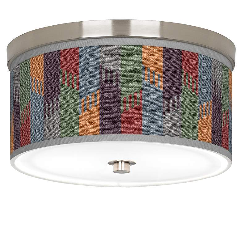 "Tassels Giclee Nickel 10 1/4"" Wide Ceiling Light"