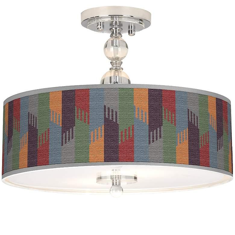 """Tassels Giclee 16"""" Wide Semi-Flush Ceiling Light"""