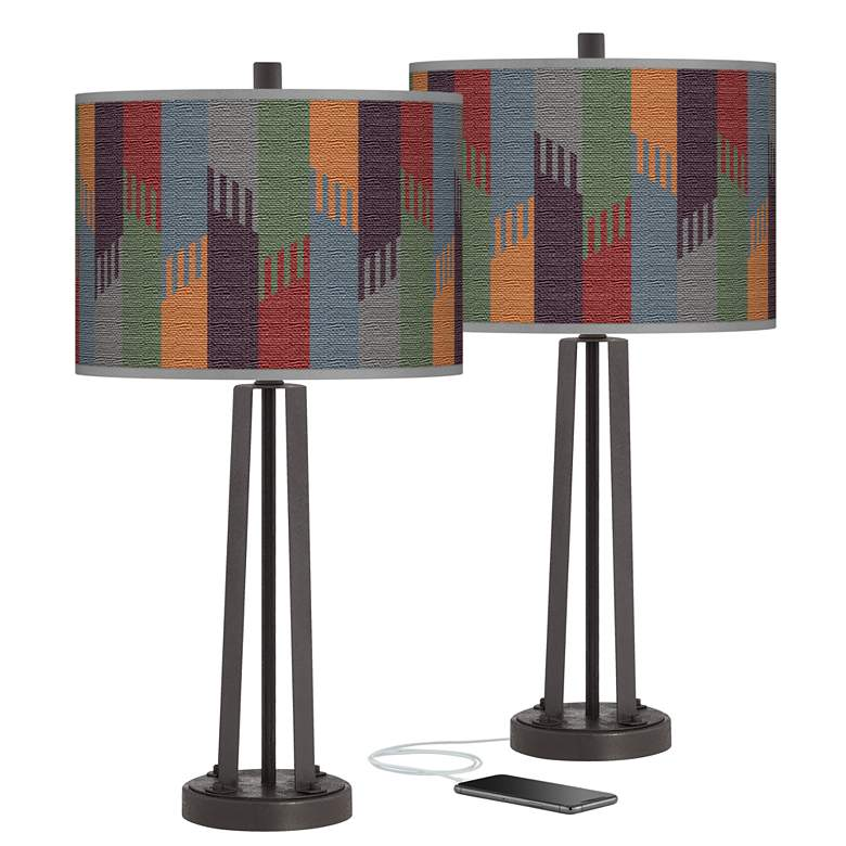 Tassels Susan Dark Bronze USB Table Lamps Set of 2