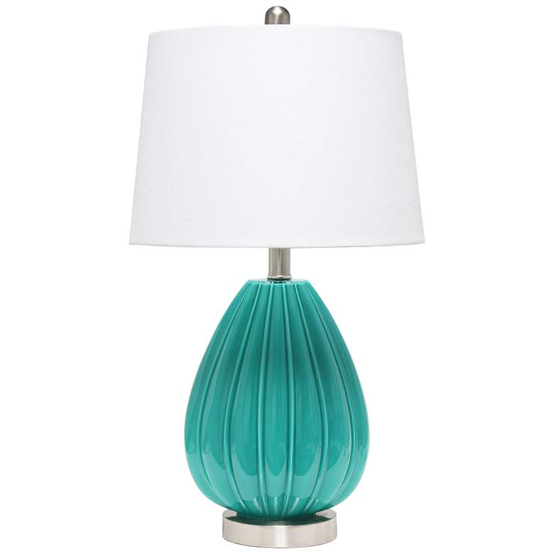 Lalia Home Teal Pleated Glass Accent Table Lamp