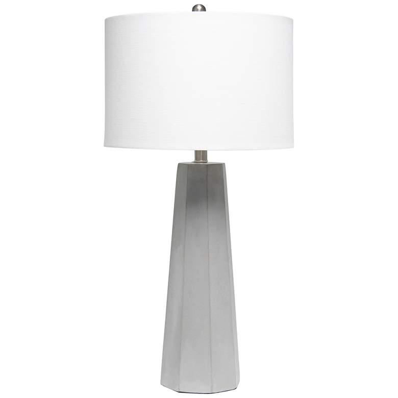 Lalia Home Pillar White Concrete Table Lamp