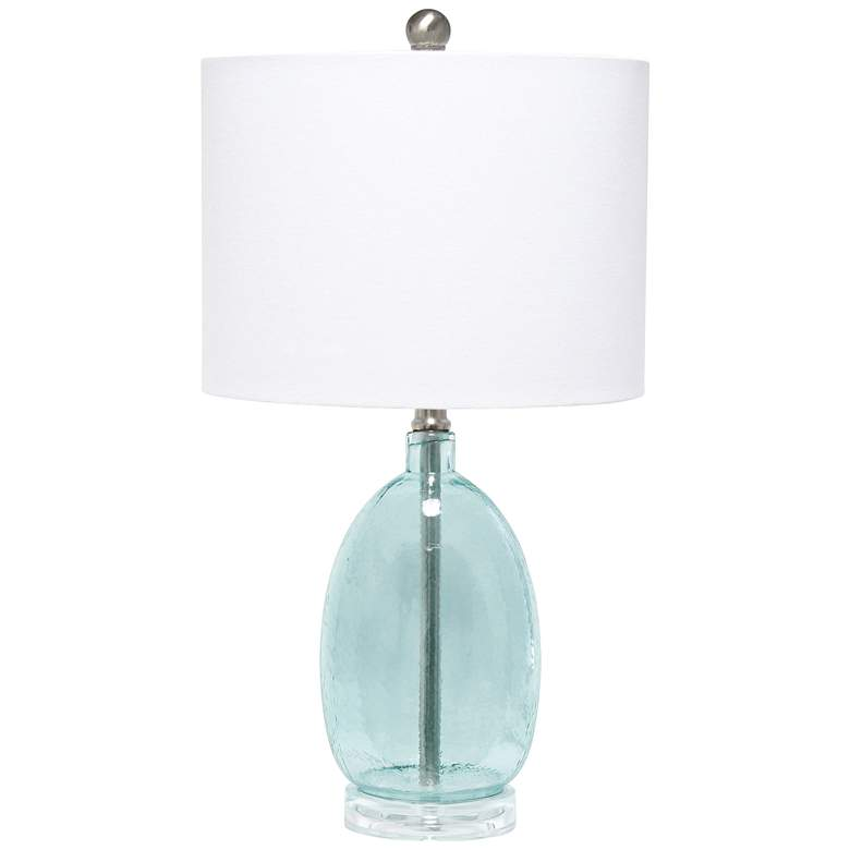 Lalia Home Clear Blue Oval Glass Accent Table Lamp