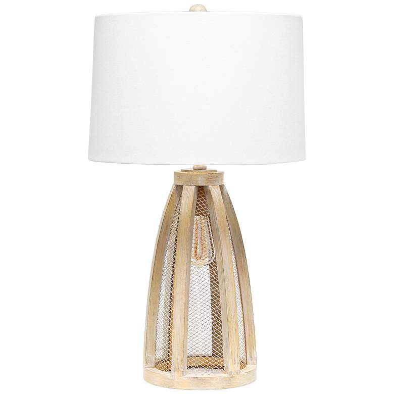 Lalia Home Natural Wood Arch Table Lamp with Night Light