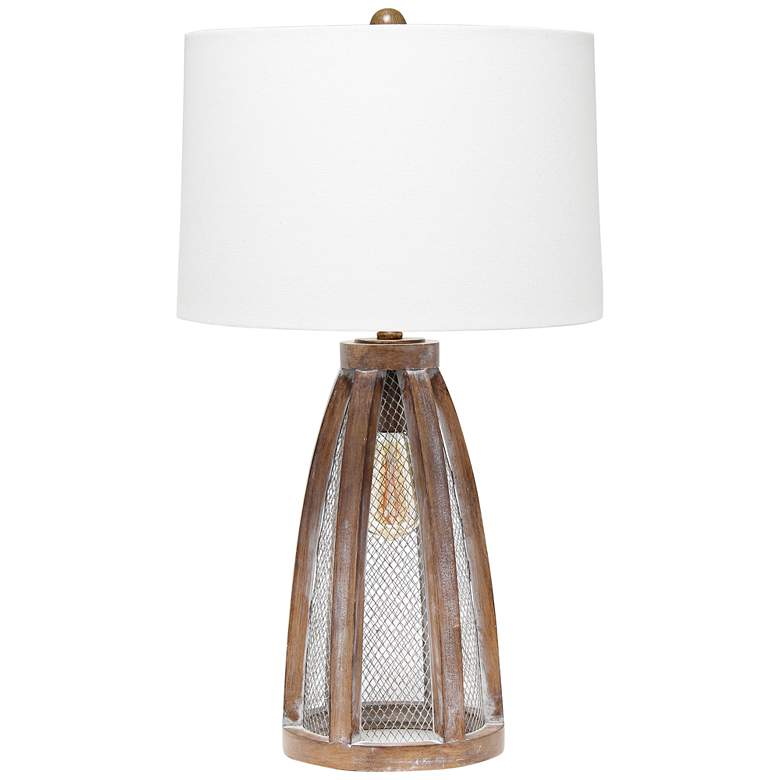 Lalia Home Old Wood Arch Table Lamp with Night Light